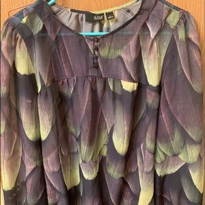 A.N.A SHEAR FEATHER PATTERN BLOUSE